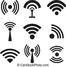 differente, icone, wifi, fili, vettore, nero