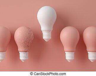 differente, illustration., lampadine, fila, luce, colour., 3d, uno