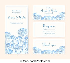 differente, illustration., verticale, invito, compositions., vettore, chrysanthemum., matrimonio, cartelle, monocromatico, orizzontale