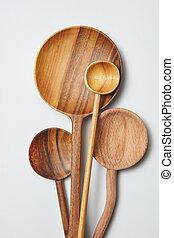 differente, legno, utensili, fondo, bianco, cucina