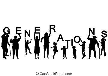 differente, lettere, persone, età, silhouette, presa a terra, parola, generazioni