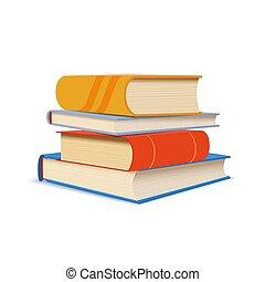differente, libri, bianco, pila