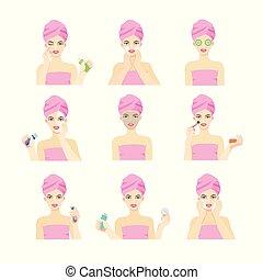 differente, masks., secondo, faccia, occhiate, applica, pelle, ragazza, problema