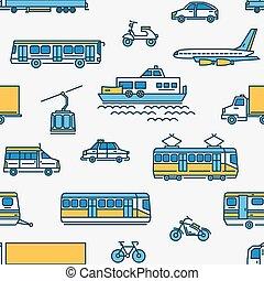 differente, modello, seamless, fondo., trasporto, bianco, tipi