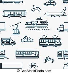 differente, modello, seamless, fondo., trasporto, monocromatico, bianco, tipi