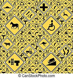 differente, modello, seamless, giallo, segni, strada