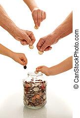differente, monete, risparmio, generazioni, mani
