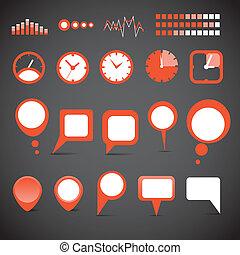 differente, nubi, icone, indicatore, collezione, discorso