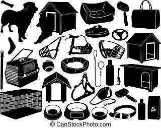 differente, oggetti, cani