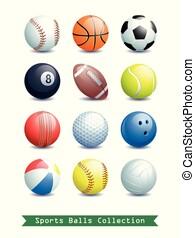 differente, palle, grande, collezione, sport, works., creativo, tuo