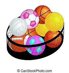 differente, palle, grande, isolato, gioco, cesto, bianco