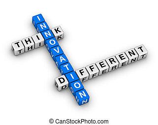 differente, -, pensare, innovazione