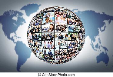 differente, persone affari, molti, globo, isolato, fondo, bianco