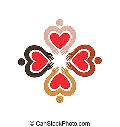 differente, persone colorano, color., quattro, loro, pictograms, figure, pelle umana, cuori, hands., icona