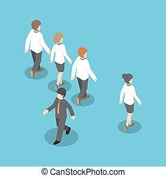 differente, persone, isometrico, camminare, altro, modo, uomo affari