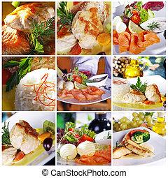 differente, piatti, ristorante