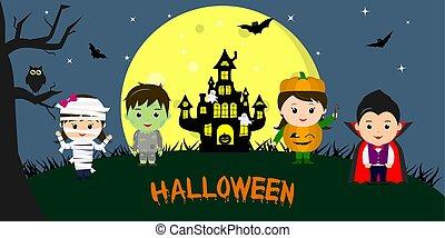 differente, pieno, caratteri, appartamento, luna, cartone animato, halloween., halloween, costumi, contro, vettore, fondo, festa, bambini, night., felice