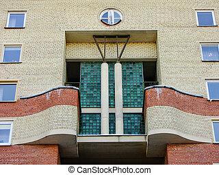differente, prospettiva, di, vecchio, costruzione mattone