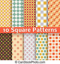 differente, quadrato, seamless, modelli, vettore, (tiling).