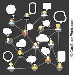 differente, rete, persone, astratto, bubbles., discorso, scheme.