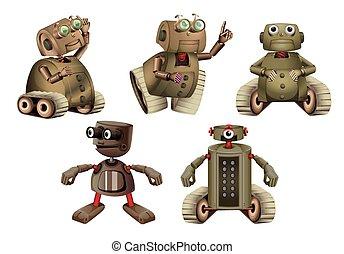 differente, robot, azioni