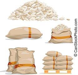 differente, sacchi, magazzino, cibo, vettore, rice., illustrazioni, bianco