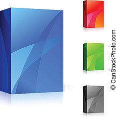 differente, scatola, colori, cd