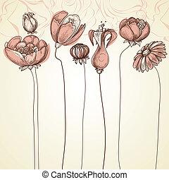 differente, scheda, illustrazione, mano, fondo., delicato, elegante, floreale, disegnato, fiori, eventi