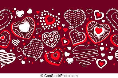 differente, seamless, forme, bordo, contorno, rosso