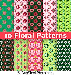 differente, seamless, modelli, vettore, (tiling)., floreale