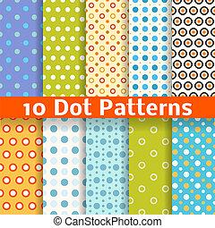 differente, seamless, modelli, vettore, (tiling)., puntino