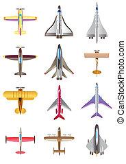 differente, set, aeroplani, icone