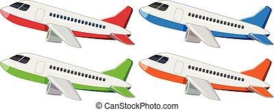 differente, set, aeroplano