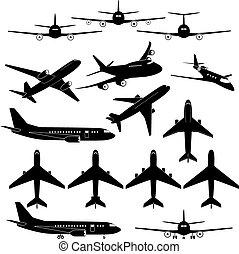 differente, set, aeroplano, segni