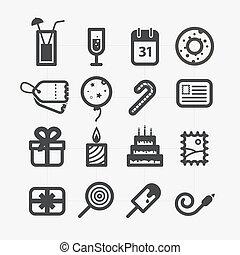 differente, set, arrotondato, icone, corners., elementi, disegno, vacanza