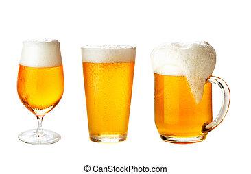 differente, set, bicchieri birra, bianco