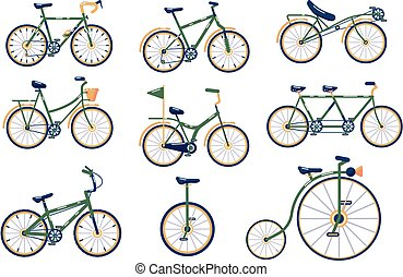 differente, set, bicycles, tipi