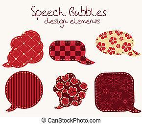 differente, set, bolle, disegno, discorso, elementi