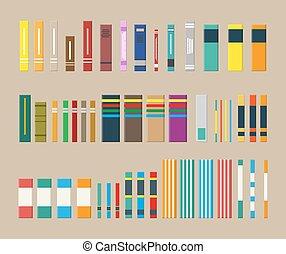 differente, set, books., biblioteca
