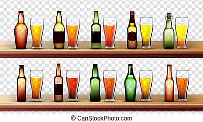 differente, set, bottiglie, bicchieri birra