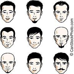 differente, set, calvo, come, umano, heads., barbigi, males., vettore, uomini, barbuto, caratteri, bello, facce, o, brunet