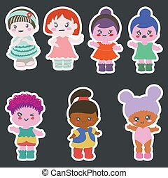 differente, set, carta, adesivi, outfits., bambole
