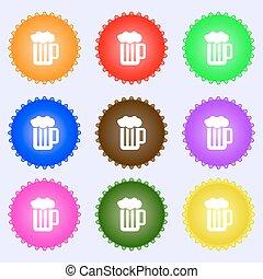 differente, set, colorato, segno., schiuma, labels., vetro, birra, vettore, nove, icona