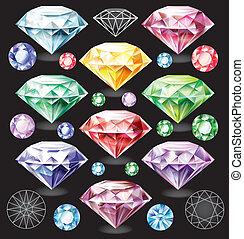 differente, set, colori, diamanti