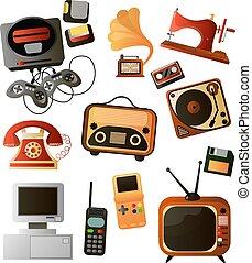 differente, set, congegni, oggetti, retro, casa, elettronico