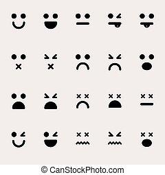 differente, set, emoticons, vettore