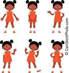 differente, set, esposizione, africano, poco, gesti, americano, bambino, ragazza, pose