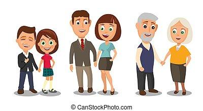 differente, set, età, couples, hands., tenere bambino, generazioni