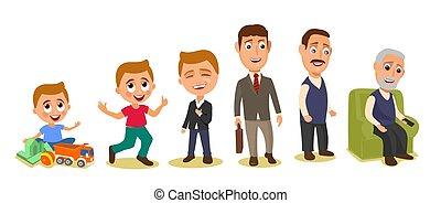 differente, set, età, grandfather., equipaggia, bambino, generazioni
