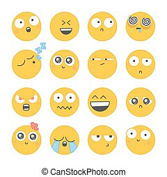 differente, set, face., smiley, icone